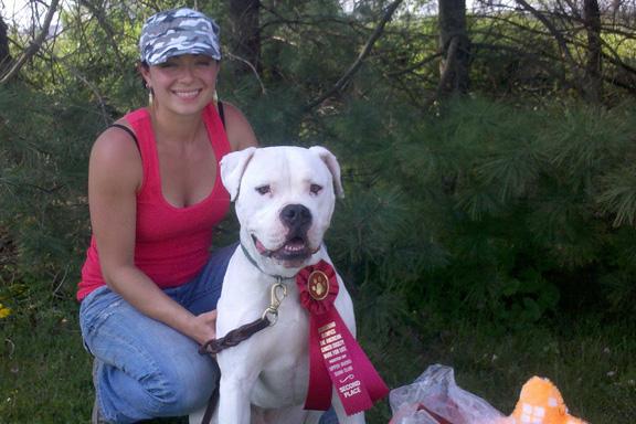 Sondra and Silla at the Schutzhund Olympics